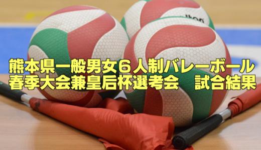 【試合結果速報】熊本県一般男女6人制バレーボールリーグ春季大会 兼天皇・皇后杯選考会