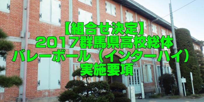【組合せ決定】2017群馬県高校総体バレーボール(インターハイ) 実施要項