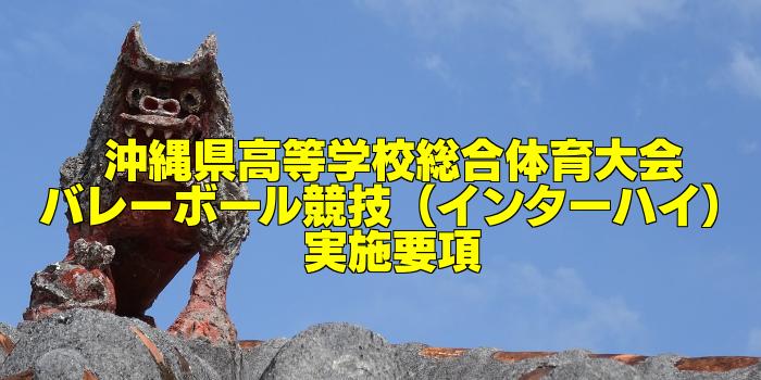 【組合せ決定】2017沖縄県高校総体バレーボール(インターハイ) 実施要項