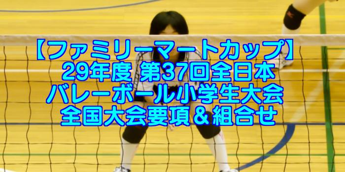 【29年度 ファミリーマートカップ】 第37回全日本バレーボール小学生大会 全国大会要項&組合せ