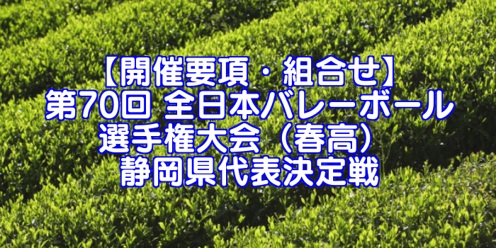 【要項・組合せ】2018年 第70回 全日本バレーボール選手権(2017年度春高バレー) 静岡県決定戦