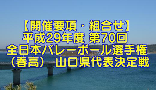 【要項・組合せ】2018年 第70回 全日本バレーボール選手権(2017年度春高バレー) 山口県決定戦