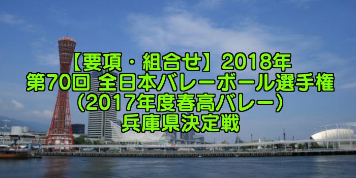 【要項・組合せ】2018年 第70回 全日本バレーボール選手権(2017年度春高バレー) 兵庫県決定戦