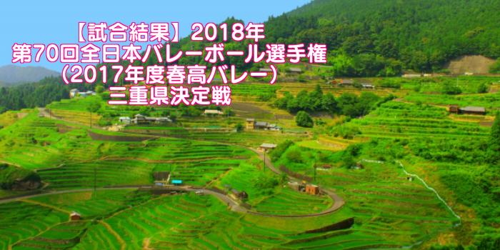 【試合結果】2018年 第70回全日本バレーボール選手権(2017年度春高バレー)三重県決定戦