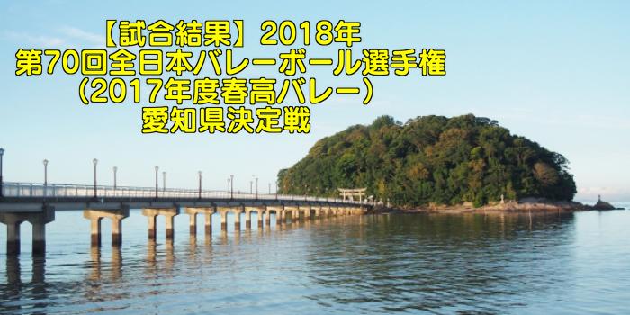 【試合結果】2018年 第70回全日本バレーボール選手権(2017年度春高バレー)愛知県決定戦