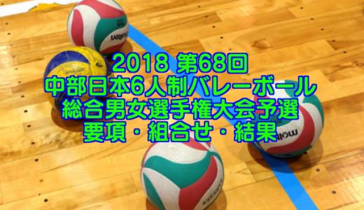 2018 第68回中部日本6人制バレーボール総合男女選手権大会予選 要項・組合せ・結果