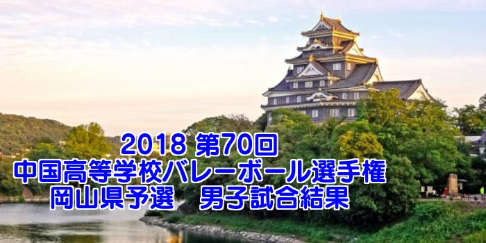 2018 第70回中国高等学校バレーボール選手権大会 岡山県予選 男子試合結果