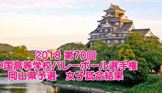 2018 第70回中国高等学校バレーボール選手権大会 岡山県予選 女子試合結果