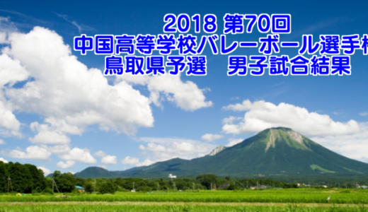 【2018中国選手権予選】鳥取県高等学校バレーボール選手権大会 男子試合結果