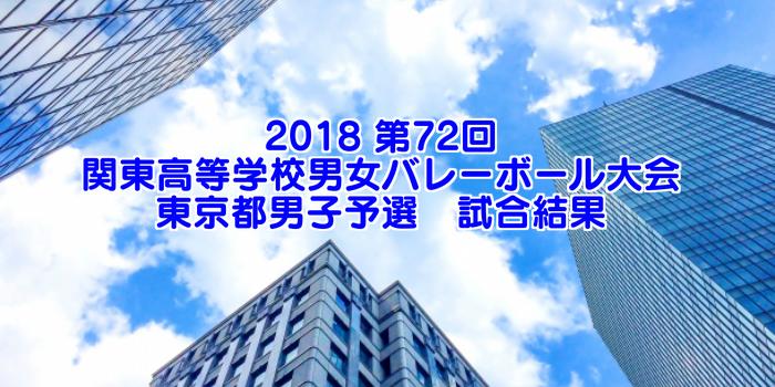 2018 第72回関東高等学校男女バレーボール大会 東京都男子予選 試合結果