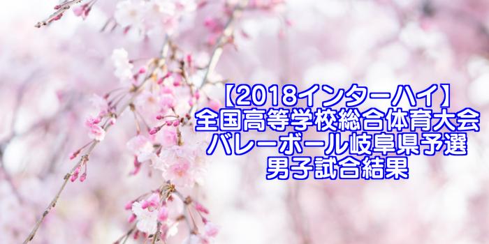 【2018インターハイ】全国高等学校総合体育大会 バレーボール岐阜県予選 男子試合結果