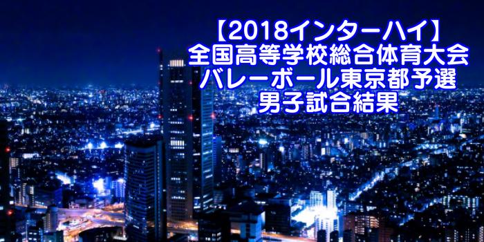【2018インターハイ】全国高等学校総合体育大会 バレーボール東京都予選 男子試合結果