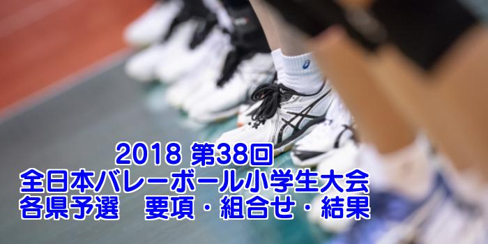 2018 第38回全日本バレーボール小学生大会各県予選 要項・組合せ・結果