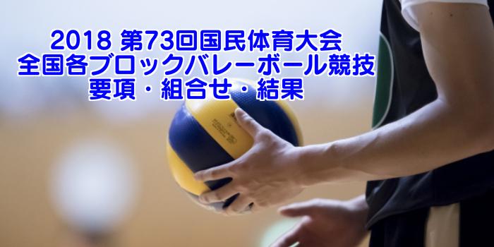 2018 第73回国民体育大会 全国各ブロックバレーボール競技 要項・組合せ・結果