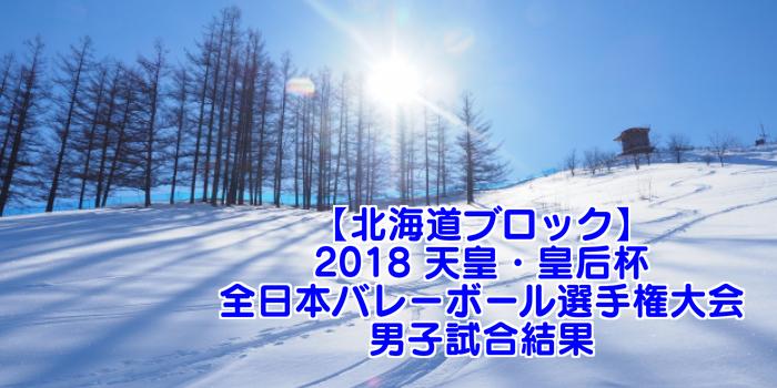 【北海道ブロック】2018 天皇・皇后杯 全日本バレーボール選手権大会 男子試合結果