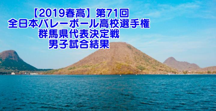 【2019春高】第71回全日本バレーボール高校選手権 群馬県代表決定戦 男子試合結果