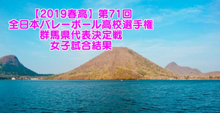 【2019春高】第71回全日本バレーボール高校選手権 群馬県代表決定戦 女子試合結果