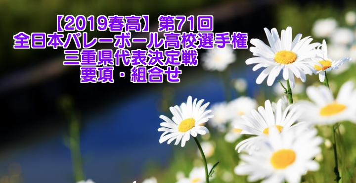 【2019春高】第71回全日本バレーボール高校選手権 三重県代表決定戦 要項・組合せ