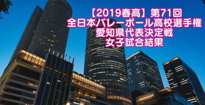 【2019春高】第71回全日本バレーボール高校選手権 愛知県代表決定戦 女子試合結果