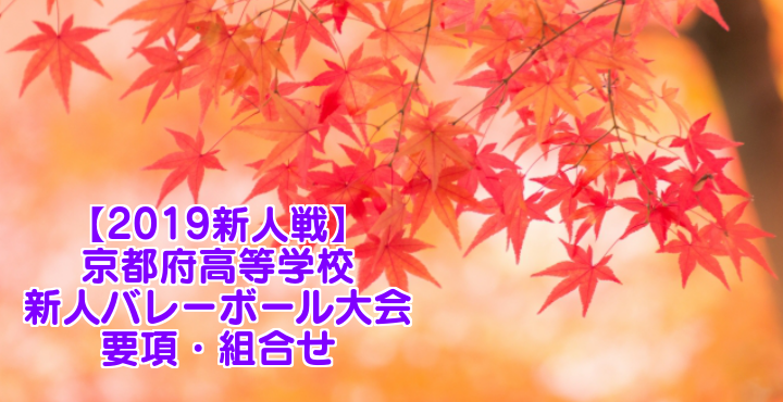 【2019新人戦】京都府高等学校新人バレーボール大会 要項・組合せ