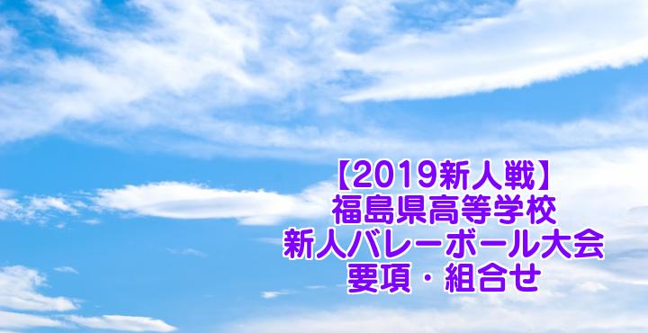 【2019新人戦】福島県高等学校新人バレーボール大会 要項・組合せ