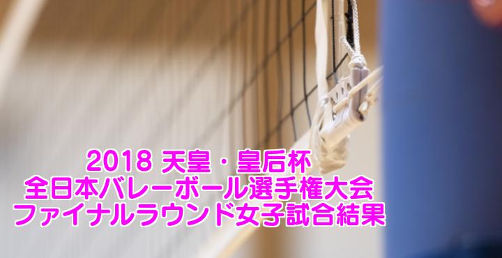 2018 天皇・皇后杯 全日本バレーボール選手権大会 ファイナルラウンド女子試合結果