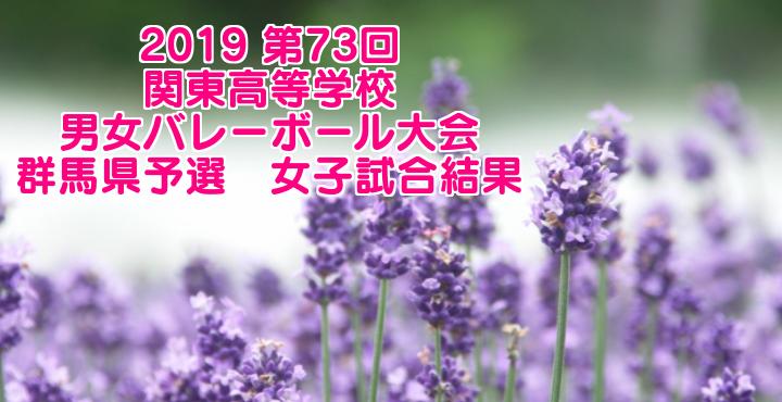 2019 第73回関東高等学校男女バレーボール大会 群馬県予選 女子試合結果