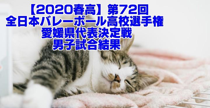 【2020春高】第72回全日本バレーボール高校選手権 愛媛県代表決定戦 男子試合結果