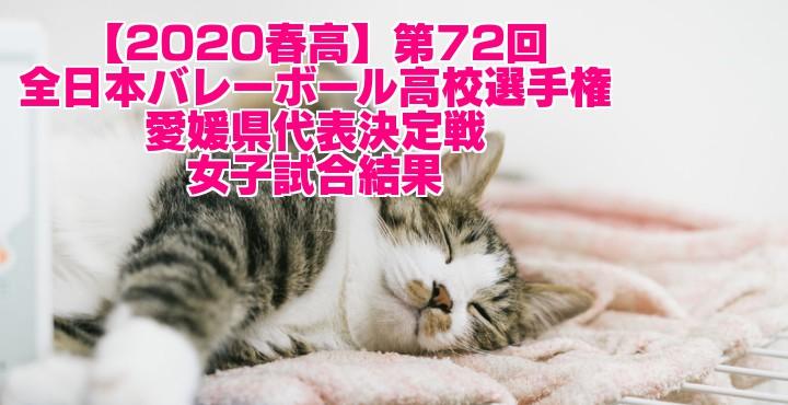 【2020春高】第72回全日本バレーボール高校選手権 愛媛県代表決定戦 女子試合結果