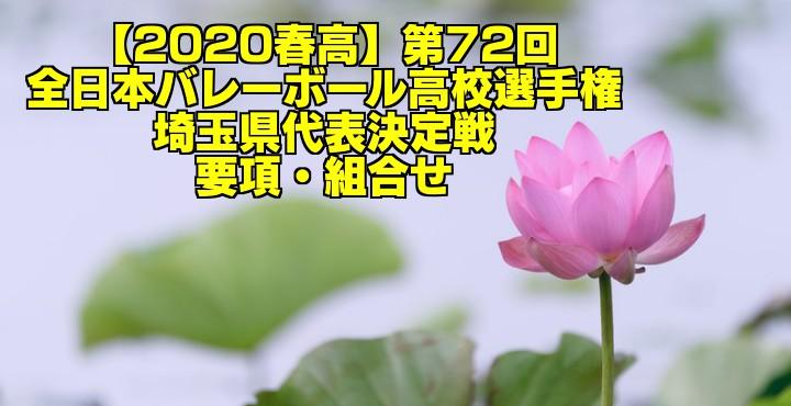 【2020春高】第72回全日本バレーボール高校選手権 埼玉県代表決定戦 要項・組合せ