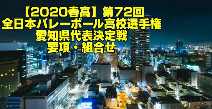 【2020春高】第72回全日本バレーボール高校選手権 愛知県代表決定戦 要項・組合せ