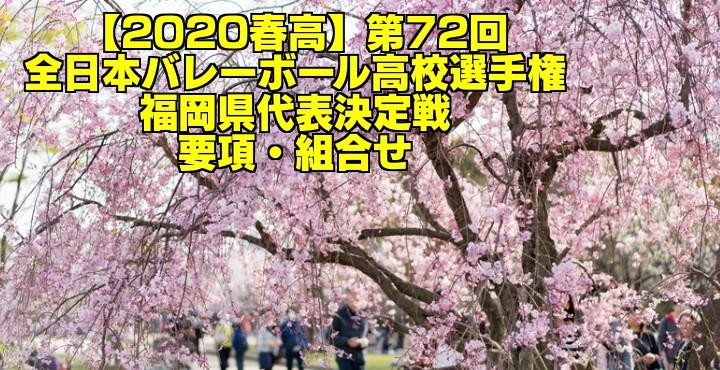 【2020春高】第72回全日本バレーボール高校選手権 福岡県代表決定戦 要項・組合せ