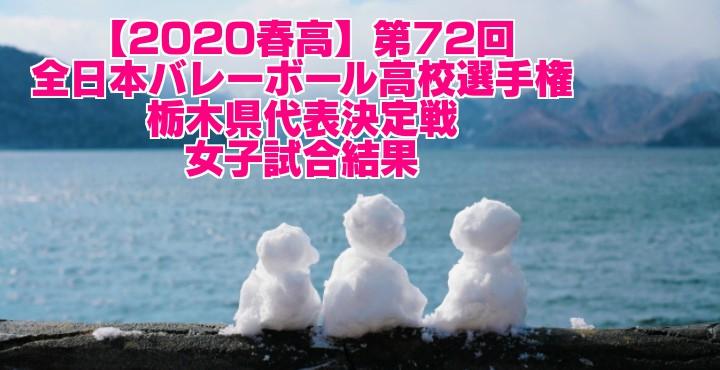 【2020春高】第72回全日本バレーボール高校選手権 栃木県代表決定戦 女子試合結果