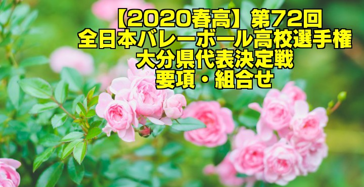 【2020春高】第72回全日本バレーボール高校選手権 大分県代表決定戦 要項・組合せ