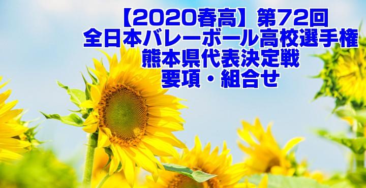 【2020春高】第72回全日本バレーボール高校選手権 熊本県代表決定戦 要項・組合せ