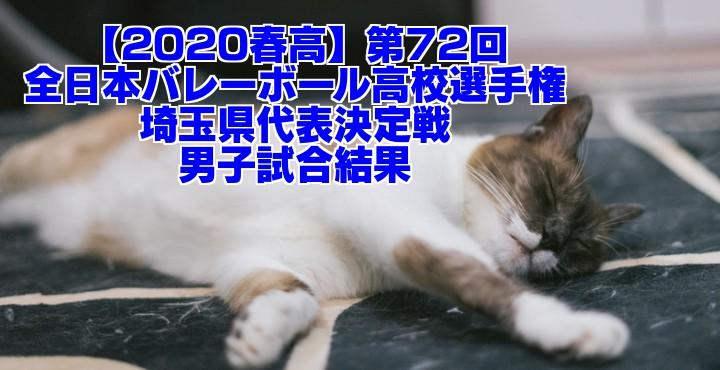 【2020春高】第72回全日本バレーボール高校選手権 埼玉県代表決定戦 男子試合結果