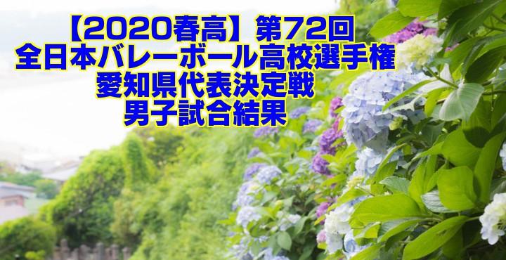 【2020春高】第72回全日本バレーボール高校選手権 愛知県代表決定戦 男子試合結果