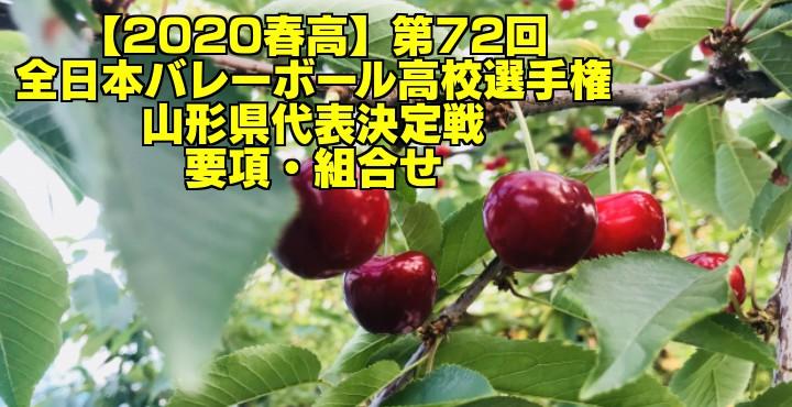【2020春高】第72回全日本バレーボール高校選手権 山形県代表決定戦 要項・組合せ